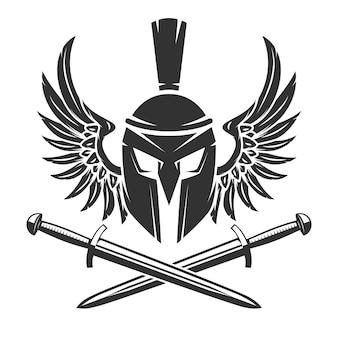 Capacete espartano com espadas cruzadas e asas em fundo branco. ilustração.