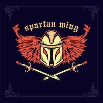 Capacete espartano com espadas cruzadas e asas