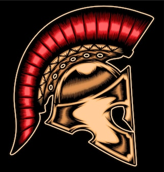 Capacete espartano de ouro.