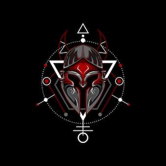 Capacete espartano geométrico