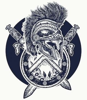 Capacete espartano, tatuagem de espadas cruzadas