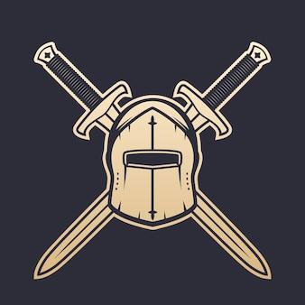 Capacete medieval e espadas cruzadas, elementos heráldicos do logotipo, ouro no escuro