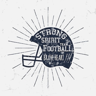 Capacete retrô de futebol americano com texto inspirador citação