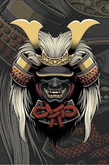 Capacete samurai com acessórios para cabelo