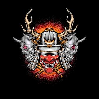 Capacete samurai com máscara oni