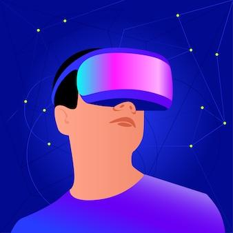 Capacete vr para simulação espacial e jogos digitais