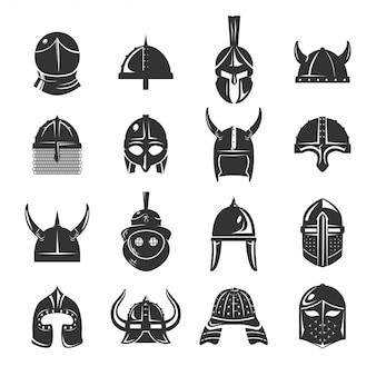 Capacetes de guerreiro conjunto de ícones