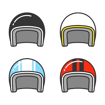 Capacetes de moto vintage linha conjunto de ícones