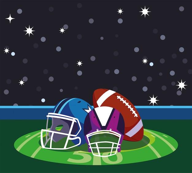 Capacetes e bola do super bowl na frente da ilustração da arquibancada