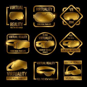 Capacetes e óculos de realidade virtual dourada design de rótulo