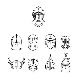 Capacetes medievais ajustados isolados no branco.