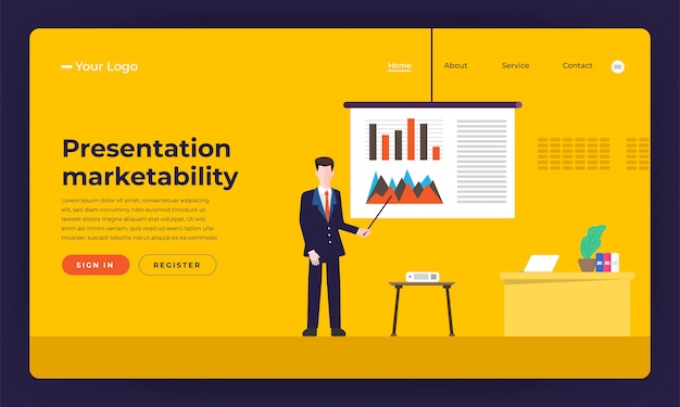 Capacidade de comercialização de habilidade de apresentação de conceito de site. ilustração.