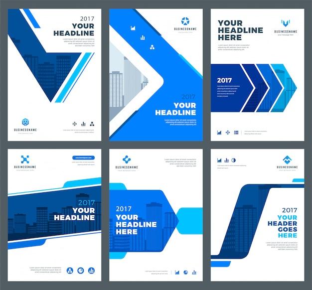 Capas azuis para conjunto de modelos de design de relatórios anuais