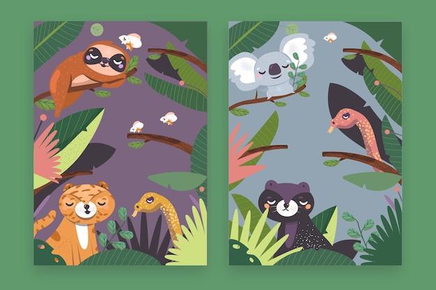 Capas de animais selvagens desenhadas à mão