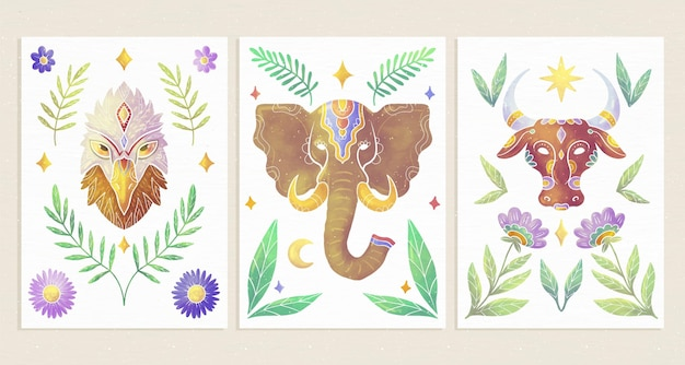 Capas de animais selvagens pintadas à mão