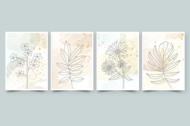 Capas de aquarela desenhadas à mão com flores