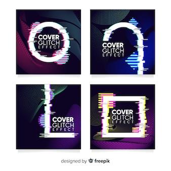 Capas de design com coleção de efeitos de falha colorida