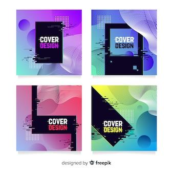 Capas de design com efeito de falha colorida