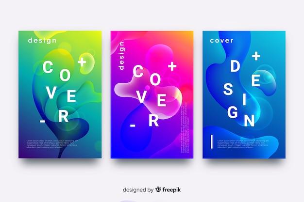 Capas de design com efeito líquido colorido