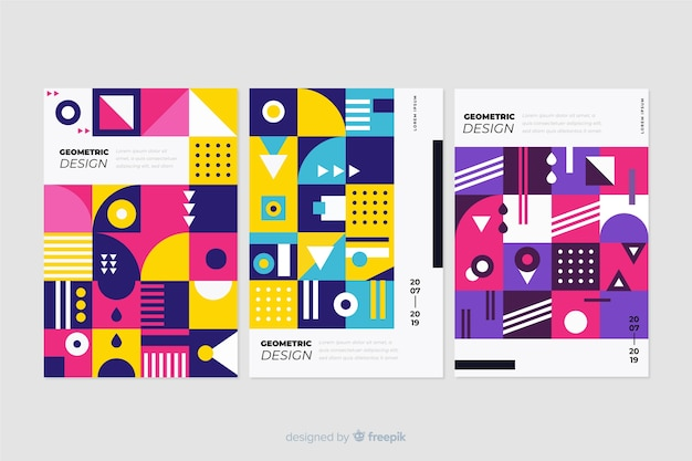 Capas de design em estilo geométrico