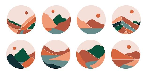 Capas de destaque da mídia social boho com montanhas, rio, mar