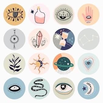 Capas de destaque de mídia social abstrata, design minimalista moderno, linha de arte com diferentes elementos místicos
