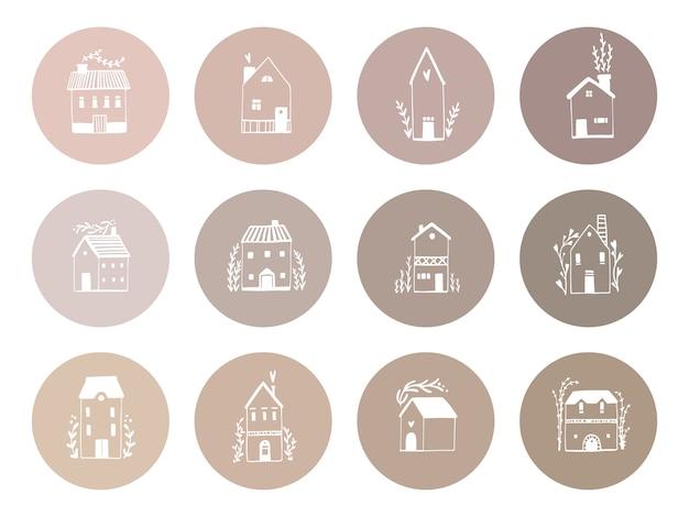 Capas de destaques. conjunto de casas escandinavas, ilustração de edifícios em estilo cartoon de mão desenhada. bonito desenho branco sobre um fundo de tons pastéis nus para uma conta nas redes sociais.