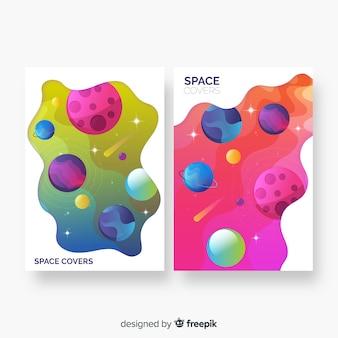 Capas de espaço abstrato colorido