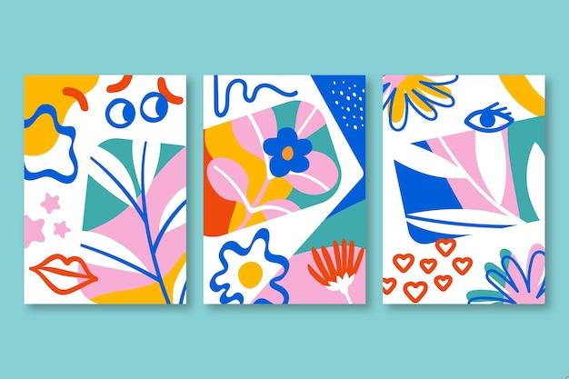 Capas de formas abstratas coloridas desenhadas à mão