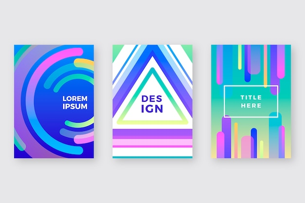 Capas de formas coloridas para modelo de cartazes