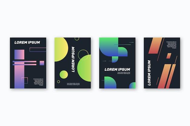 Capas de formas geométricas gradientes em fundo escuro