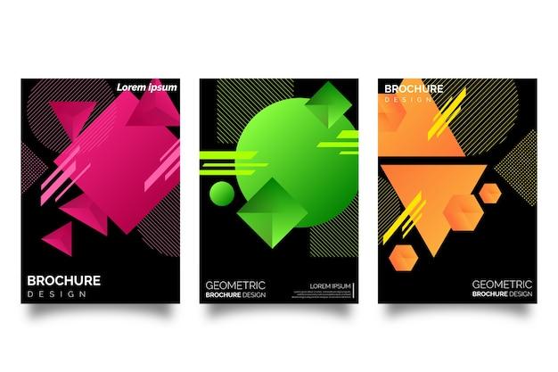 Capas de formas geométricas gradientes no design de papel de parede escuro