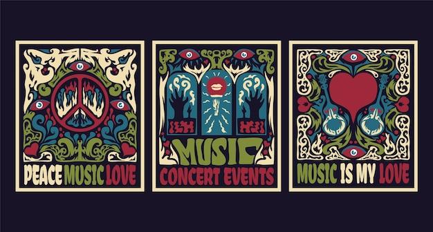 Capas de música psicodélica (estilo dos anos 60 e 70)