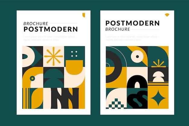Capas de negócios pós-modernas em amarelo e verde escuro