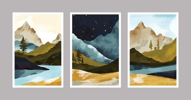 Capas de paisagens abstratas pintadas à mão