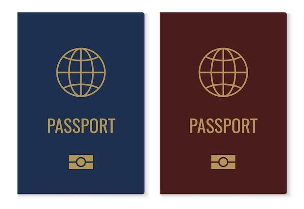 Capas de passaporte com mapa. documento de identificação internacional realista em vermelho e azul, documento de identidade oficial do cidadão com globo dourado. vetor isolado em elementos brancos
