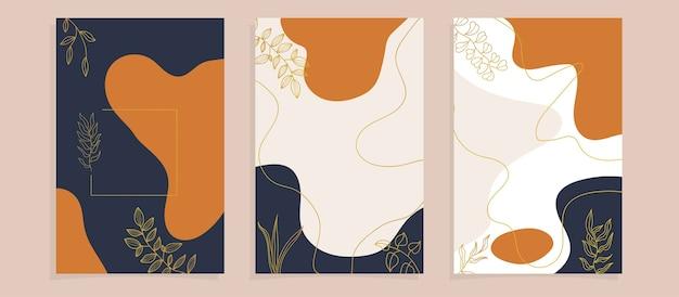 Capas de pôster de folhas tropicais abstratas