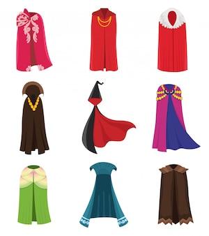 Capas de roupa de festa e conjunto de roupa de capas.