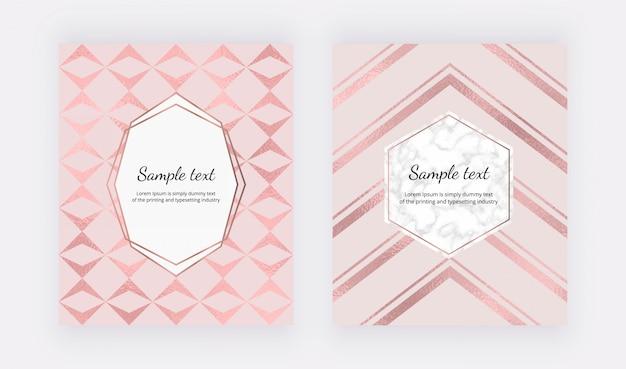 Capas geométricas elegantes com textura de folha de ouro rosa