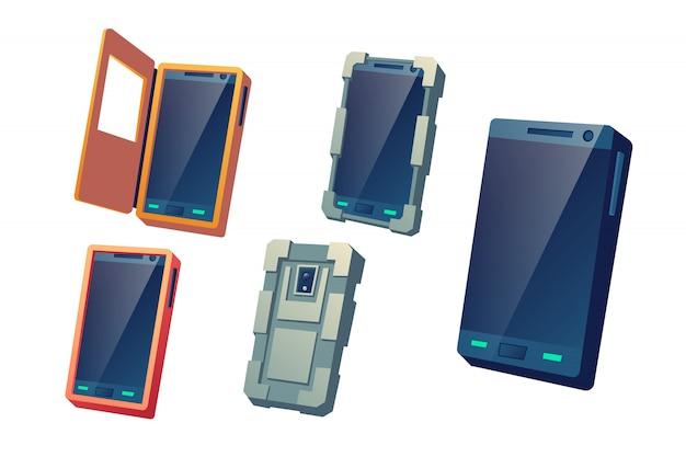 Capas protetoras, caixas à prova d'água e à prova de choque para celulares modernos