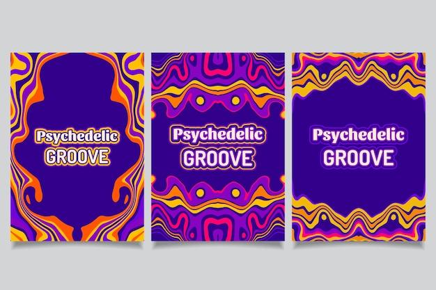 Capas psicodélicas descoladas desenhadas à mão
