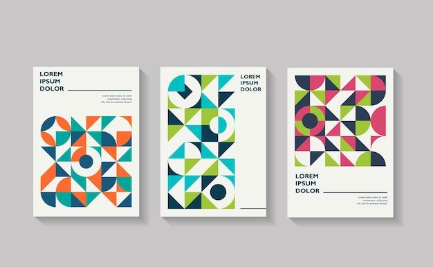 Capas retrô para brochura de relatório anual composições de formas vintage em estilo bauhaus