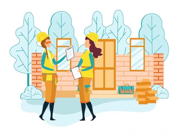 Capataz de mulher se comunicar com trabalhador no local