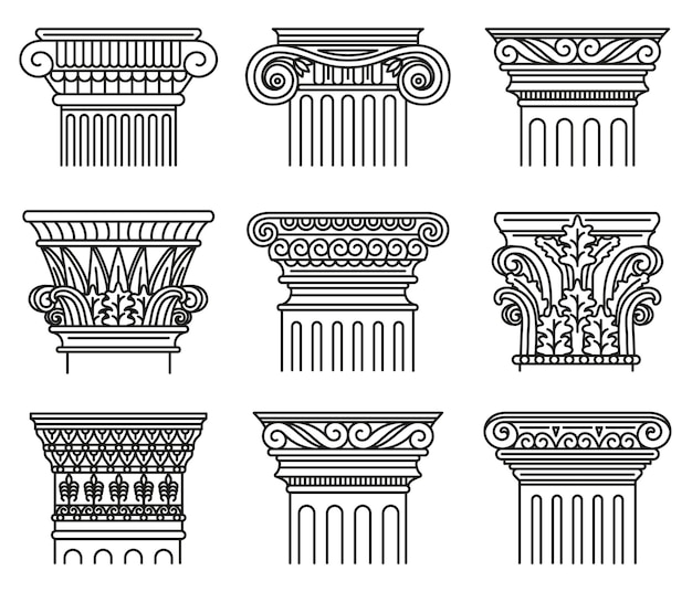 Capitais da grécia antiga. ordens arquitetônicas, conjunto de ilustrações iônicas e dóricas de capitais antigos