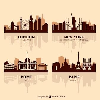 Capitais do mundo do vetor da skyline