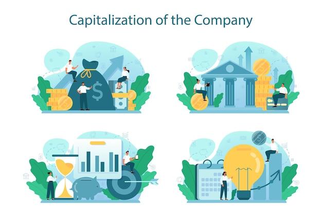 Capitalização de um conjunto de ilustração de empresa