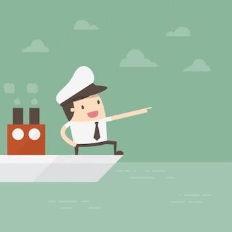 Capitão comandando um barco
