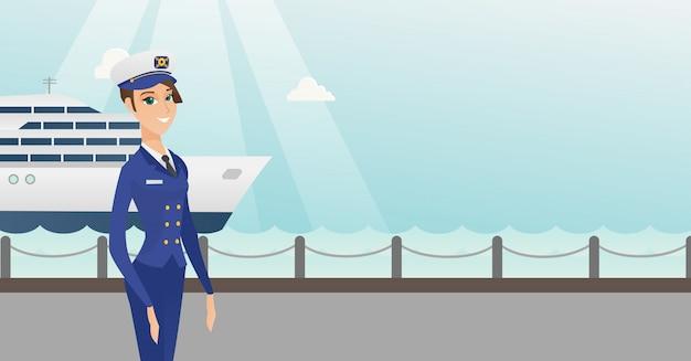 Capitão de navio caucasiano em uniforme no porto.