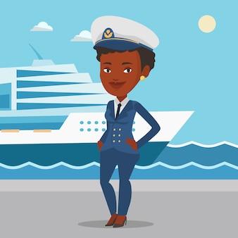 Capitão de navio de uniforme no porto a sorrir.