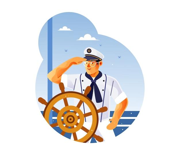 Capitão de navio e leme de madeira